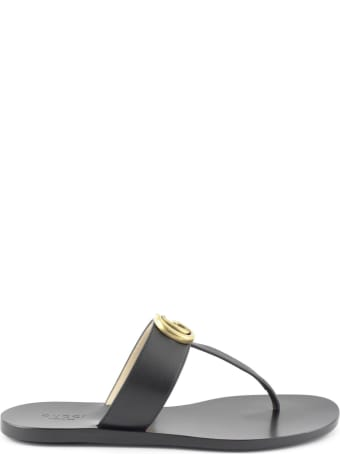 Gucci Black Leather Thong Sandal