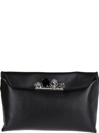 Alexander McQueen Black Leather Four Rings Pouch