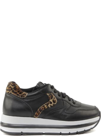 Voile Blanche Maran Leather Sneakers With Leopard Insert