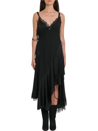 MONSE Asymmetric Lace Crepe Slip Dress