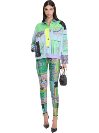 Versace Casual Jacket In Cyan Denim
