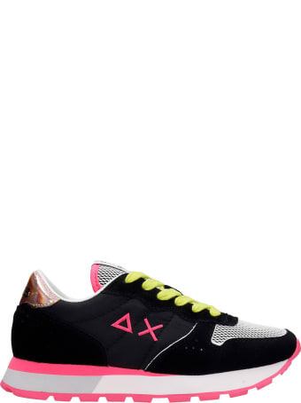 Sun 68 Ally Sporty Sneakers In Black Suede And Fabric