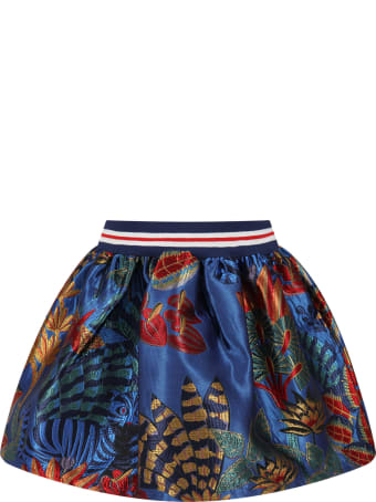 Stella Jean Blue Skirt For Girl With Flowers
