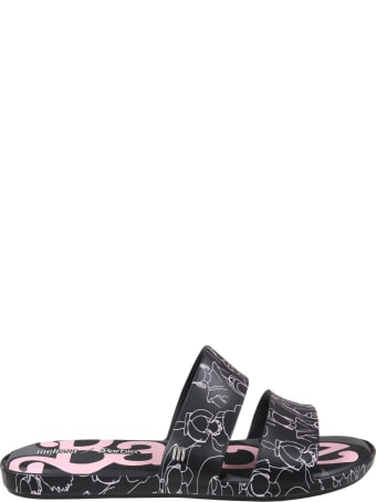Melissa Black Sandals For Girl With Barbie