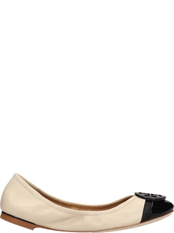 Tory Burch Minni Cap-toe Ballet Flats In Beige Leather