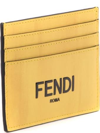 Fendi Fendi Yellow Leather Cardholder