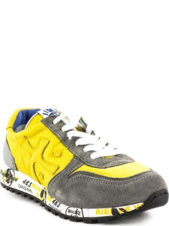 Premiata Sneaker In Grey Suede Upper And Yellow Nylon