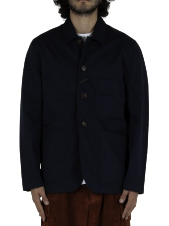 Universal Works Bakers Jacket In Twill - Navy