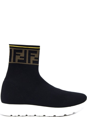Fendi Black Stretch-mesh Junior High-top Sneakers