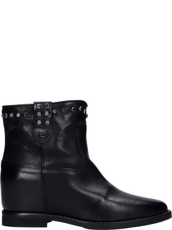 Julie Dee Ankel Boots Inside Wedge In Black Leather