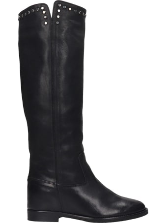 Julie Dee Low Heels Boots In Black Leather