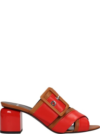 Pierre Hardy Red Leather Gae Mule Sandals
