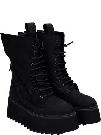 Bruno Bordese Paola Combat Boots In Black Nubuck