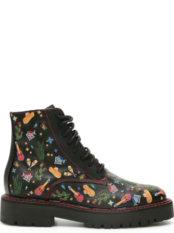 Dawni Mexican Embroidery Combat Boots