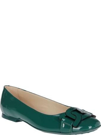 Tod's Green Leather Ballerinas