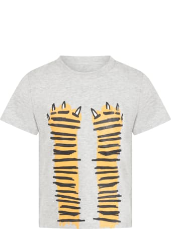 Stella McCartney Grey T-shirt For Kids With Paws