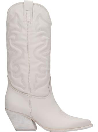 Elena Iachi Texan Boots In White Leather