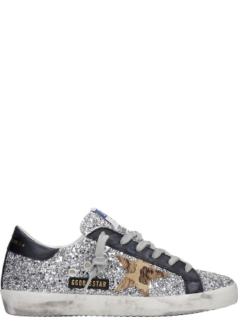 Golden Goose Superstar Sneakers In Silver Glitter