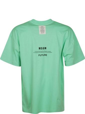 MSGM Fantastic Green Earth Print T-shirt
