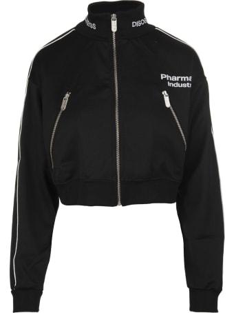 Pharmacy Industry Black Zippered Cropped Woman Sweatshirt With Logo