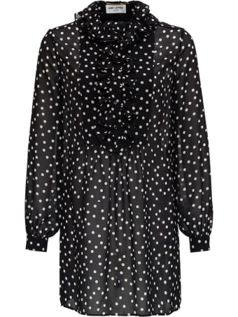 Saint Laurent Dotted Print See-through Blouse
