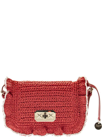 RED Valentino Shoulder Bag In Raffia With Ruffles