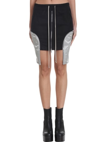 Rick Owens Ies Mini Shirt Skirt In Black Polyester