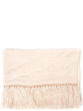 Fendi Pink Silk Shawl With Monogram