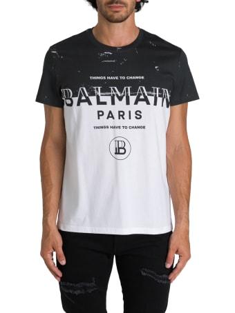 Balmain T-shirt A Maniche Corte Girocollo Con Stampa Metà Nuovo Logo