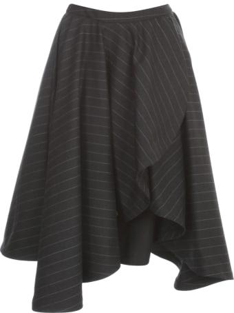 Vìen Monocolour Pinstriped Front Suit Skirt