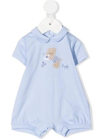 Il Gufo Newborn Light Blue Romper With Teddy Bear