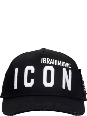 Dsquared2 D2xibra Icon Cap Hats In Black Cotton