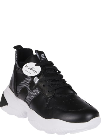 Hogan Black Leather Interactive Sneakers