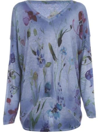 Avant Toi Over V Neck Pullover W/flowers Print And Shadows