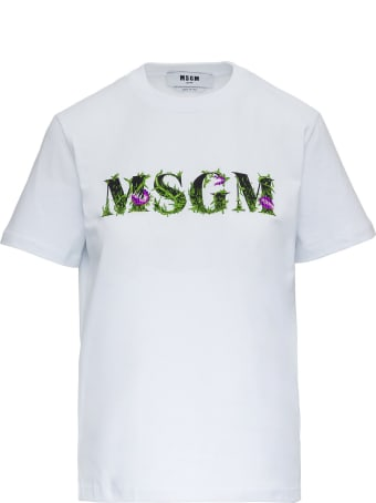 MSGM Jersey T-shirt With Embroidered Logo