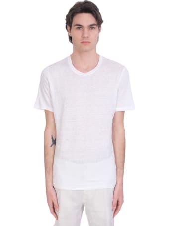 120% Lino T-shirt In White Linen