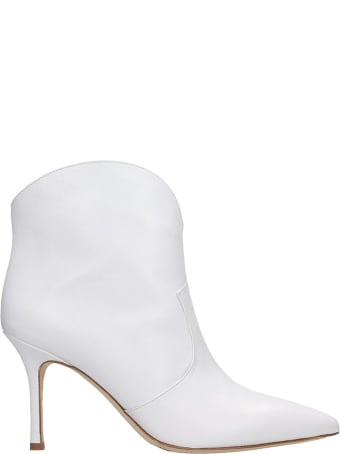 The Seller High Heels Ankle Boots In White Leather