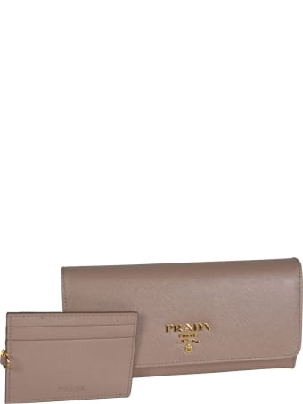 Prada Saffiano Metal Plaque Continental Wallet