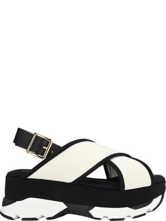 Marni White Wedge Sandal In Technical Fabric