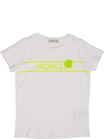 Moncler Cotton T-shirt With Fluo Logo White/ Yellow