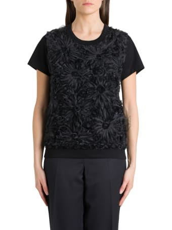 Noir Kei Ninomiya T-shirt With 3d Organdie Application