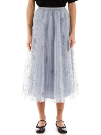 RED Valentino Glitter Polka Dot Midi Pleated Skirt