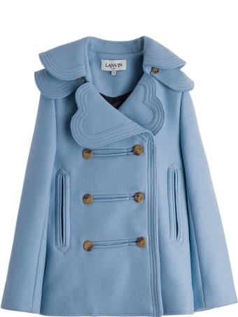 Lanvin Light Blue Wool Blend Coat