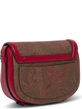 Etro Pegaso Crossbody Bag In Red Leather
