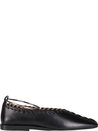 Jil Sander Black Leather Ballerina Shoes
