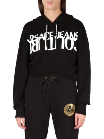 Versace Jeans Couture Cotton Hoodie With Logo Print