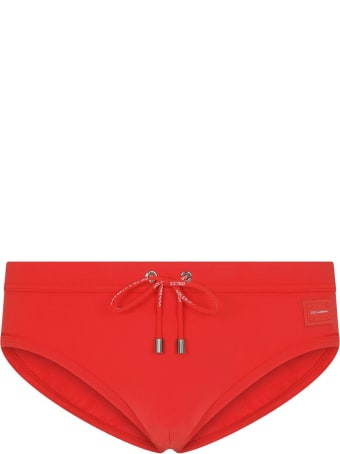 Dolce & Gabbana Red Swim Brief With Logo