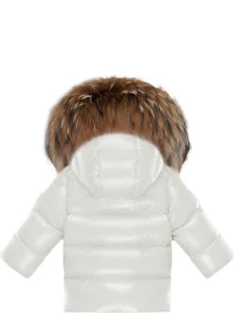 Moncler Bomber Jacket In White Nylon Laqué