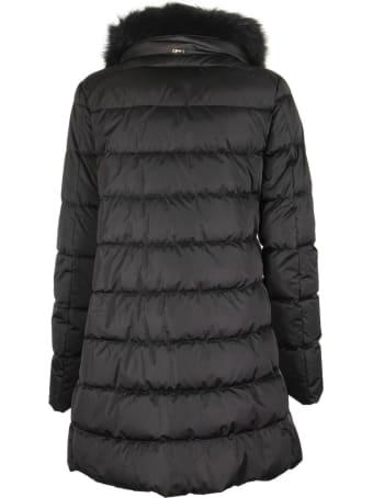 Herno Black Down Jacket With Fur