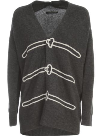Y's M Trick Art Long Cardigan W/ribbed Bottom And Wrists